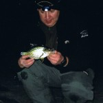 New York Crappie on the Ice at Night